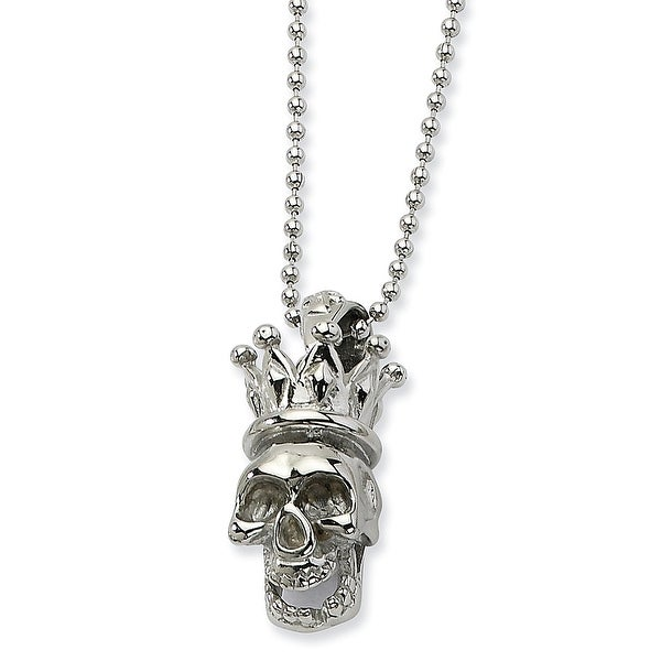 Chisel Stainless Steel Skull with Crown Pendant 22 Inch Necklace (1 mm) - 22 in