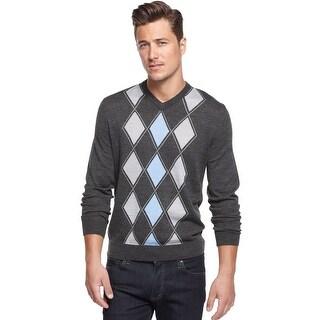 Club Room Merino Blend Argyle V-Neck Sweater Ebony Grey Heather and Blue X-Large