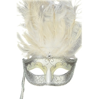 Pure Seasons Colombina Vanity Fair Venetian Mask (White/Silver) - Multi