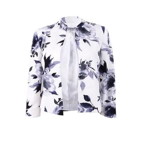 Kasper Women's Floral-Print Flyaway Jacket - Steel Multi