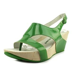 Tsubo Olisa Women Open Toe Leather Green Wedge Heel