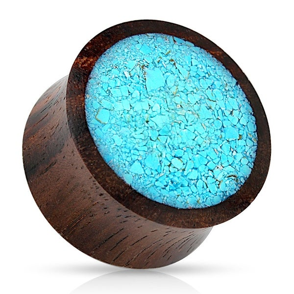 Crushed Turquoise Organic Wood Saddle Fit Plug (Sold Ind.)