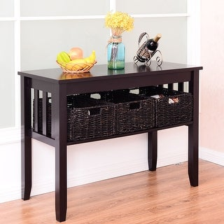 Costway Wooden Rectangle Side Storage Table Home Office Furni Decor W/3 Baskets Espresso