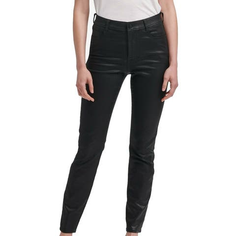 DKNY Women's Jeans Black Size 32X28 Skinny Leg Coated Jeggings Stretch