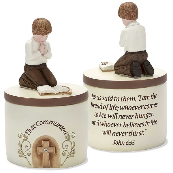 """5.25"""" Beige and Brown Cylindrical Boys First Holy Communion Keepsake Box - N/A"""