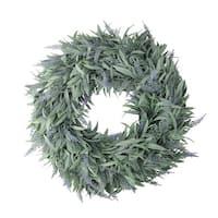 "17"" Artificial Dusty Blue Decorative Springtime Wispy Lavender Wreath - green"