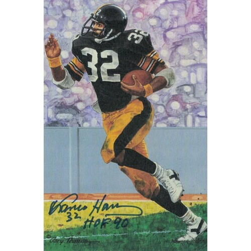 huge selection of 731a6 71c7c Franco Harris Autographed Pittsburgh Steelers Goal Line Art card with wHOF  90