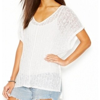 Sanctuary NEW White Women's Size XS V-Neck Lace Textured Knit Top
