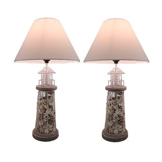 Set of 2 Seashell Filled Metal Mesh Lighthouse Lamps