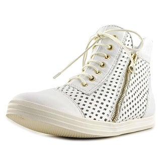 All Black Hi-Top Perf Women Round Toe Leather White Sneakers