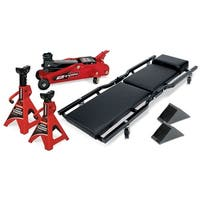 Powerbuilt 6 Piece Car Service Set,  Floor Jack, Jack Stands, Creeper, 640816