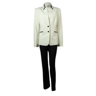 Tahari Women's Leather Trim Sonoma Spirit Pant Suit - ivory white/black