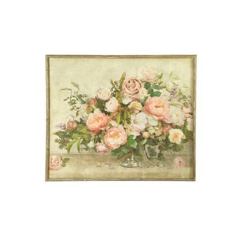 """37.25""""W Flower Bouquet Wood Framed Wall Decor - Grey"""