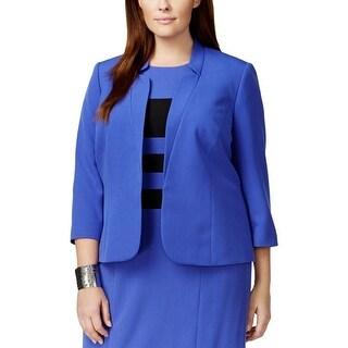 Kasper Womens Plus Open-Front Blazer Notch Collar 3/4 Sleeves