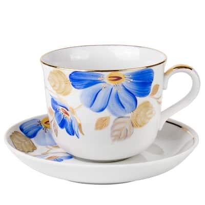 Blue Flower Teacup and Saucer