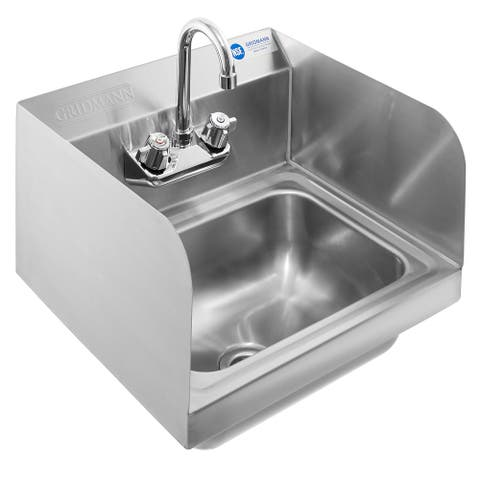 NSF Stainless Steel Sink with Faucet & Sidesplashes by GRIDMANN - Silver