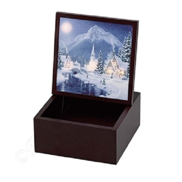 Mr. Christmas Holiday Illuminated Backlit Music Box Decoration #22861 - brown