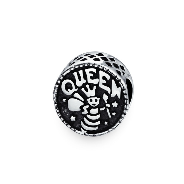 151db7359 Shop Word Queen Bee Mother Black Round Charm Bead For Women For Moms 925  Sterling Silver Fits European Bracelet - On Sale - Free Shipping On Orders  Over $45 ...
