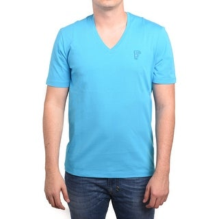 Versace Collection Men Medusa V-Neck Tee T-Shirt Light Blue