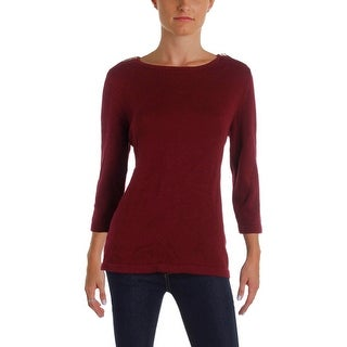 Karen Scott Womens Crewneck Sweater Zip Shoulder Cotton