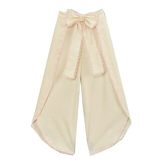 Girls Ivory Pink Scalloped Trim Bow Accent Wide Leg Pants 7-10