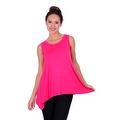 Simply Ravishing Women's Solid Round Neck Sleeveless High Low Asymmetrical Hem Tunic Top - Thumbnail 6