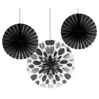 """Club Pack of 18 Black Hanging Tissue Paper Fan Party Decorations 12"""" & 16"""""""