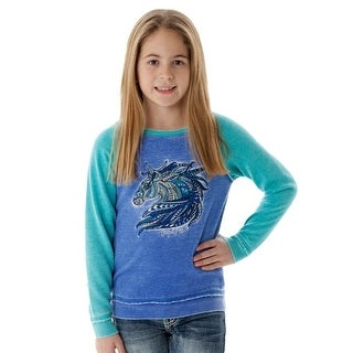 Cowgirl Tuff Western Sweatshirt Girls Burnout Horse Blue Turq