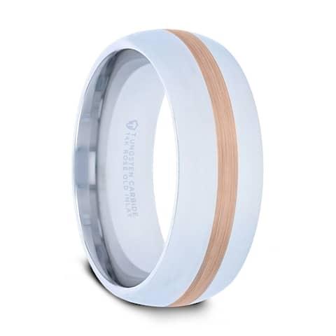 THORSTEN - ALPHEUS Rose Gold Inlaid Domed Tungsten Ring - 6mm