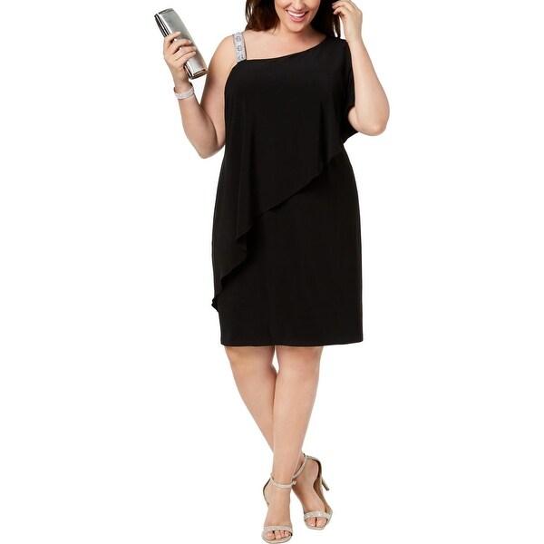 MSK Women Womens Plus Party Dress One Shoulder Knee-Length