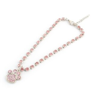 Outdoor Metal Shining Rhinestone Paw Pendent Decor Pet Necklace Bracelet Pink