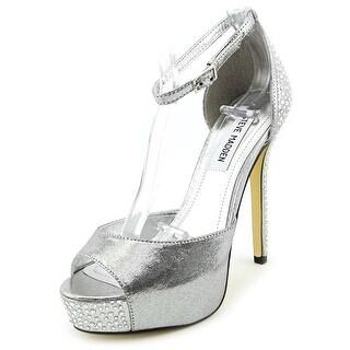 Steve Madden Nairi Women Open Toe Canvas Silver Platform Heel