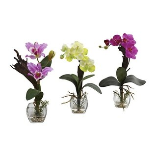 Nearly Natural Mixed Orchid with Cube Arrangements - Set of 3 - ortment1