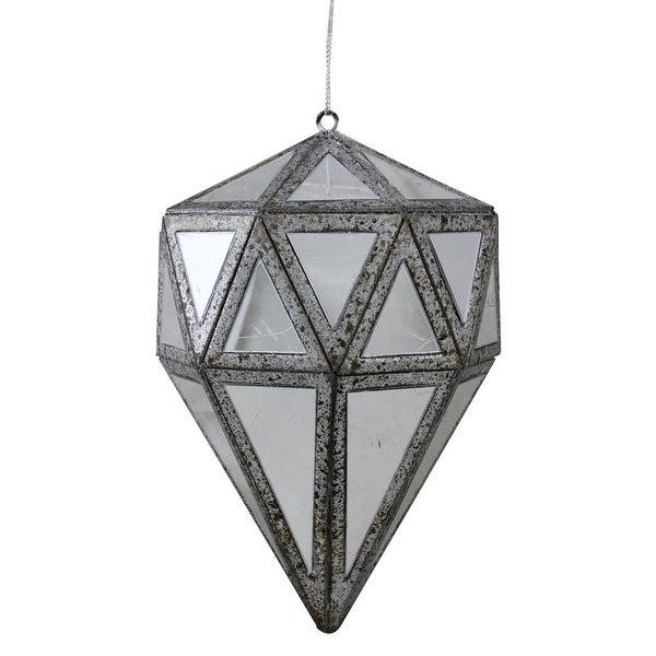 "5.5"" Winter's Beauty Mirrored Geometric Drop Christmas Ornament"