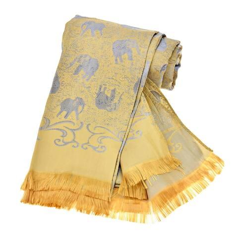 Handmade Elegantly Stunning Handwoven Silk Elephant Scarf or Shawl (Thailand)
