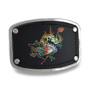 Chrome & Black Leather Dragon Belt Buckle