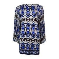 Alfani Women's Geometric Pleated Bell Sleeves Tunic Blouse - Blue Multi - ps