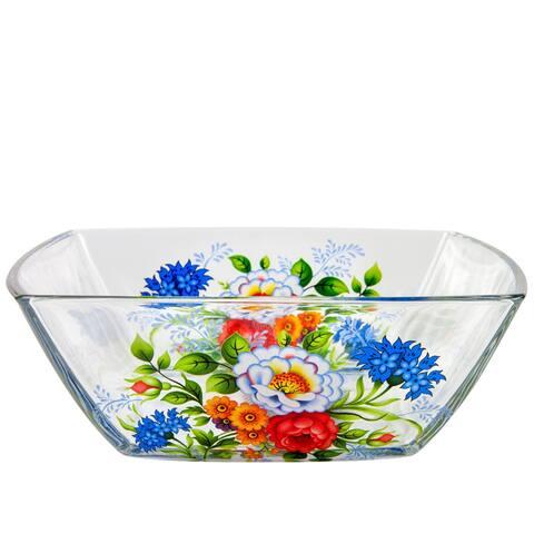 STP-Goods 18 oz Rosehip Durable Square Glass Salad Serving Bowl