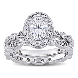 Link to Miadora 1 1/2ct DEW Oval-cut Moissanite Halo Vintage Bridal Ring Set in 10k White Gold Similar Items in Rings