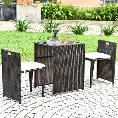 Gymax 3 PCS Cushioned Wicker Patio Furniture Set Seat Sofa Outdoor