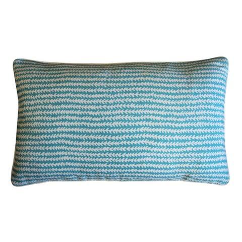 Jiti Blue Stripe Rustic Sunbrella Outdoor Pillows - 12 x 20