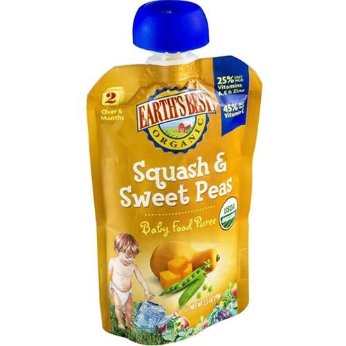 Earth's Best - Organic Squash & Sweet Peas ( 12 - 3.5 OZ)