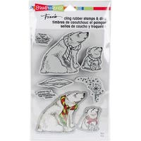 "Stampendous Cling Stamp & Die Set 9""X5.25""-Polar Bears"