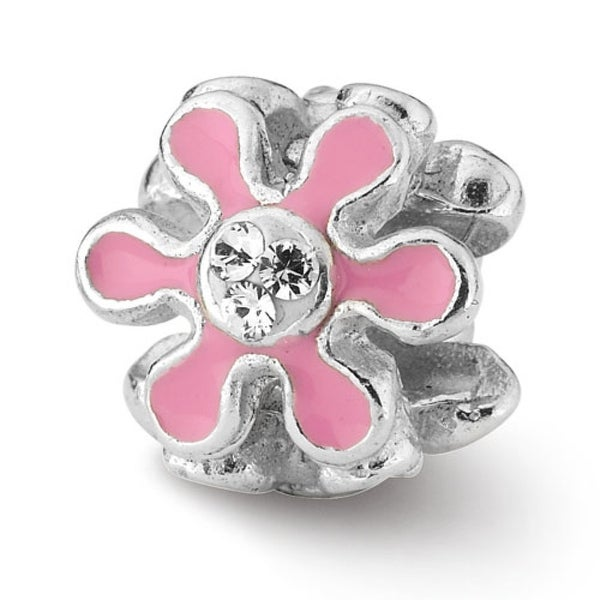Sterling Silver Reflections Pink Flower with Swarovski Elements Bead (4mm Diameter Hole)