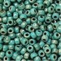 Czech Glass Matubo, 8/0 Seed Bead, 8 Gram Tube, Turquoise Green Picasso - Thumbnail 0