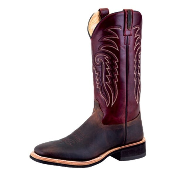 Old West Cowboy Boots Mens Crepe Broad Square Lined Brown Red