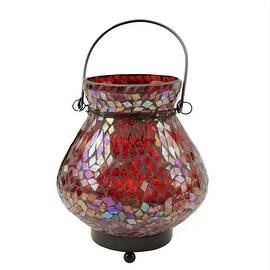 "6.5"" Decorative Red Mosaic Lota Glass Summer Tea Light Candle Holder Lantern"