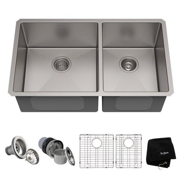 KRAUS Standart PRO Stainless Steel 33 in 60/40 Undermount Kitchen Sink. Opens flyout.