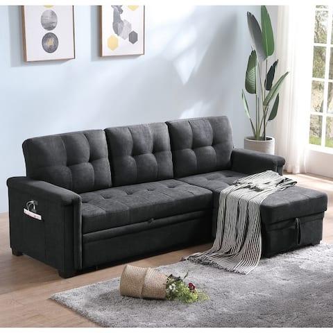 Ashlyn Woven Fabric Sleeper Sectional Sofa