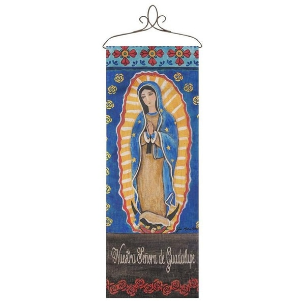 "36.5"" Yellow and Blue Our Lady Spanish Printed Rectangular Wall Panel - N/A"